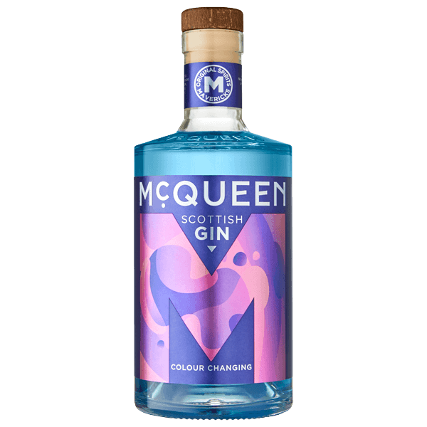 A bottle of McQueen Colour Changing Scottish Gin