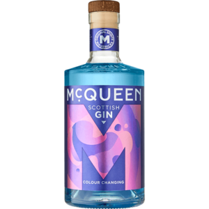 A picture of the front of a bottle of McQueen Colour Changing Scottish Gin